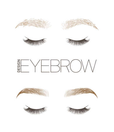 Makeup eyebrows. Set of well-groomed and shaggy eyebrows. Before and after the care. Closed eyes with long eyelashes. Vector illustration Illustration