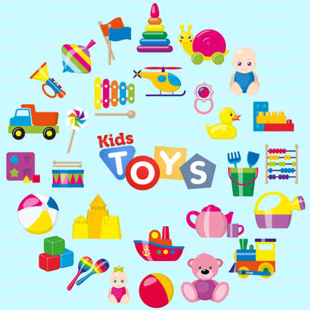 Kids toys. A set of childrens toys for the youngest. Vector illustration. Illustration