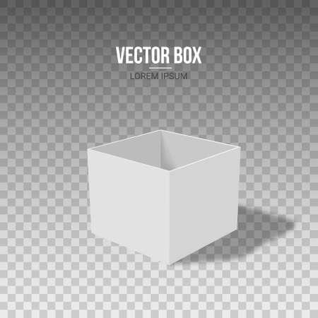 Open white box on a transparent background, vector illustration. Illustration