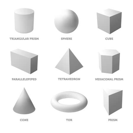 Basic geometric shapes and bodies. Solid bodies. Realistic vector illustration. Vectores
