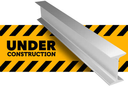 Under construction sign. Steel l-beam. Vector illustration