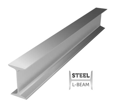 Steel I-beam realistic illustration.