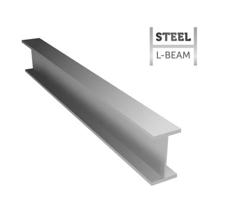 Steel I-beam. Rogo of the beam. Realistic vector illustration.