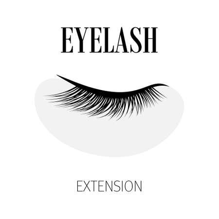 Black eyelash extension logo on white background. Vector illustration