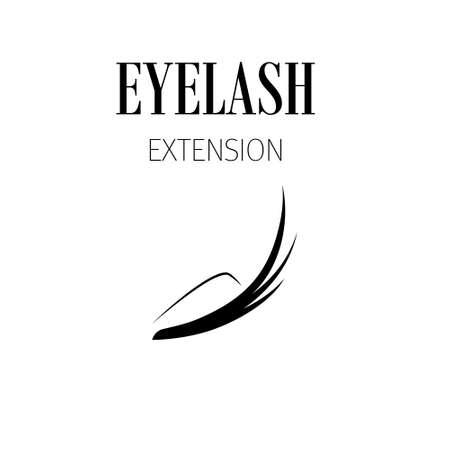 Black eyelash extension logo on white background. Vector illustration.
