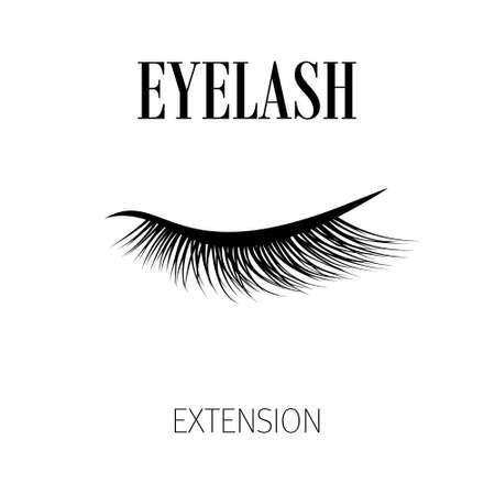 Black eyelash extension logo on white background. Vector illustration.