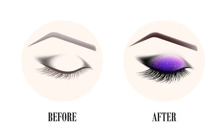 Design of eyebrows and make-up. The closed female eye before and after a make-up. A curved female eyebrow and long eyelashes. Eyelash extension, eye shine and eyebrow tattoo. Illustration