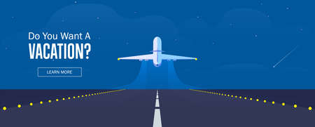Airplane in the sky, runway and take-off plane. Banner or flyer for travel and vacation design. Starry night sky. Vector illustration. Иллюстрация