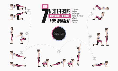 Set Sportübungen. Übungen mit freiem Gewicht. Beinheben, Kniebeugen, Liegestütze, Rülpsen, Planken, Ausfallschritte, Sit-ups. Vektorabbildung eines aktiven Lebensstils.