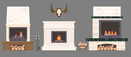 Several ovens and accessories, stone and brick classical and modern fireplaces. Fire and firewood with reindeer antlers on the wall.