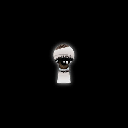 The eye looks into the keyhole. Realistic vector illustration. Ilustração