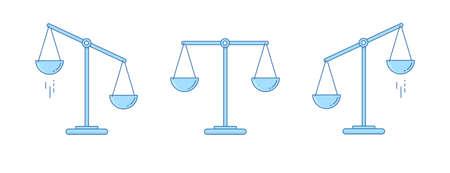 Ensemble d'échelles. Bols de balances en équilibre, un déséquilibre des balances. Illustration vectorielle Conception de la ligne.