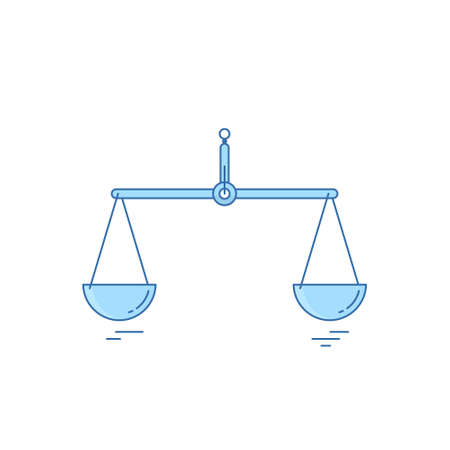 Empty scales in balance. Vector illustration. Flat linear design.