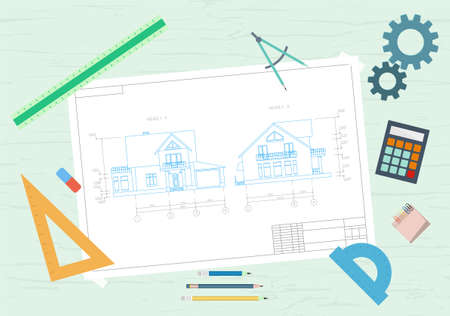 House drawing and drawing tools. The concept of design. Flat vector illustration. Vettoriali