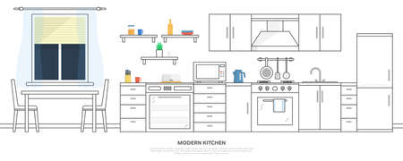 Kitchen with furniture. Kitchen interior with table, stove, cupboard, dishes and fridge. Flat style vector illustration.