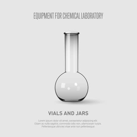 A chemical flask. Equipment for chemical laboratory. Transparent glass chemical flask. Vector illustration Illustration