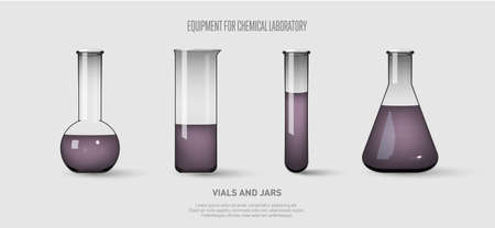 A set of flasks and test tubes with violet liquid. Equipment for chemical laboratory. Transparent glass test tubes. Vector illustration.
