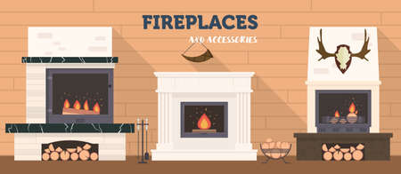 Several fireplaces and accessories to them. Stone and brick classical and modern fireplaces. Fire and firewood. Reindeer antlers on the wall.