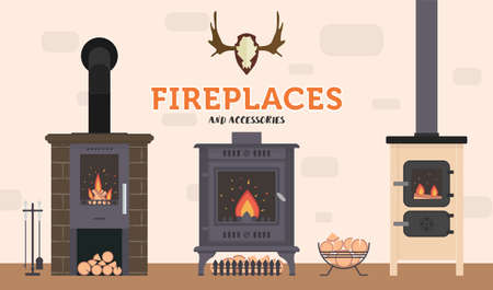 Several ovens and accessories to them. Stone and brick classical and modern fireplaces. Fire and firewood. Reindeer antlers on the wall. Ilustração