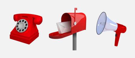 Téléphone, boîte aux lettres, mégaphone, moyens de communication. Ensemble d'objets isolés sur fond blanc. Illustration vectorielle 3d stylisée réaliste. Vecteurs