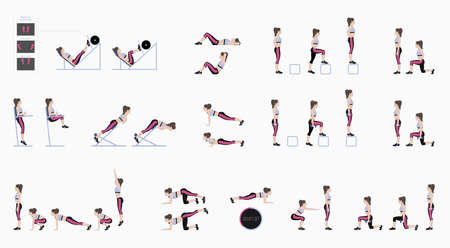 Set of sport exercises. Exercises with free weight. Exercises in a gym. Leg lifts, Squats, Push-Ups, Burpee, Plank, Lunges, Sit-Ups, Step-Up Hyperextension . Illustration of an active lifestyle Vector