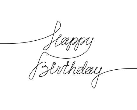 HAPPY BIRTHDAY handwritten inscription. Hand drawn lettering. alligraphy. One line drawing of phrase. Vector illustration