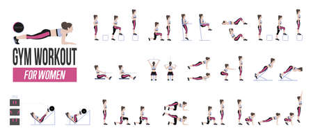 Set of sport exercises. Exercises with free weight. Exercises in a gym. Illustration of an active lifestyle Vector. Vectores