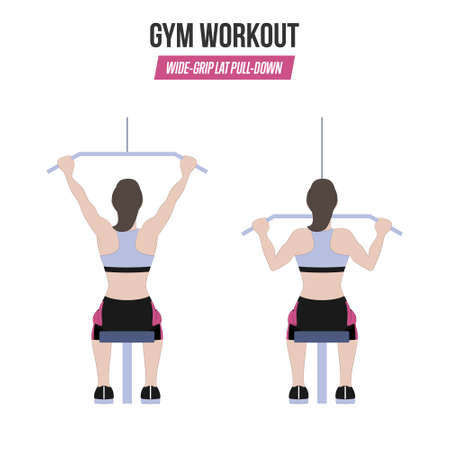 Wide-grip lat pull-down exercise. Sport exercises. Exercises in a gym. Workout. Illustration of an active lifestyle. Vectores
