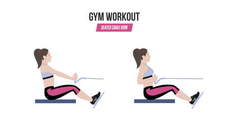 Seated cable row. Sport exercises. Exercises in a gym. Workout. Illustration of an active lifestyle.