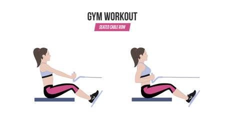 Sitzende Kabel Kabel . Sport Übungen . Übungen in einem Fitnessstudio . Bildung Illustration eines aktiven Lebensstils Standard-Bild - 98746048