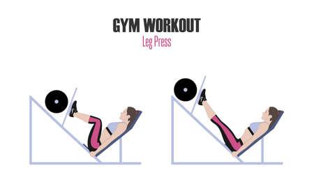 스포츠 연습. 체육관에서 운동. 다리 프레스. 체육관에서 다리 언론 기계에 운동을하는 여자. 활성 라이프 스타일의 그림입니다.
