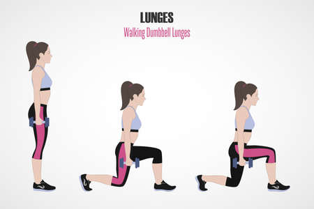 Sport exercises. Exercises with free weight. Walking dumbbell Lunges. Illustration of an active lifestyle. Exercise for beautiful thighs and buttocks. Vector.