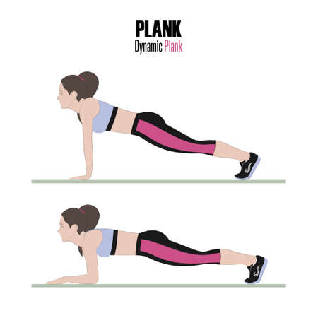 Sport exercises. Exercises with free weight. Dynamic plank. Illustration of an active lifestyle. Vector.