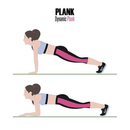 Sportübungen . Übungen mit freiem Gewicht . Dynamische Planke . Illustration eines aktiven Lebensstils . Vektor Standard-Bild - 98824431