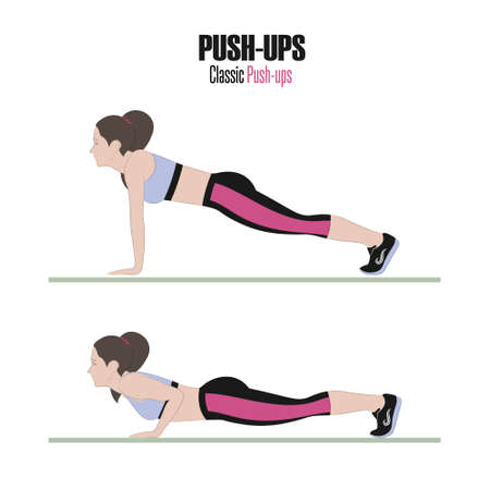Sport exercises. Exercises with free weight. Pushups. Illustration of an active lifestyle. Vector.