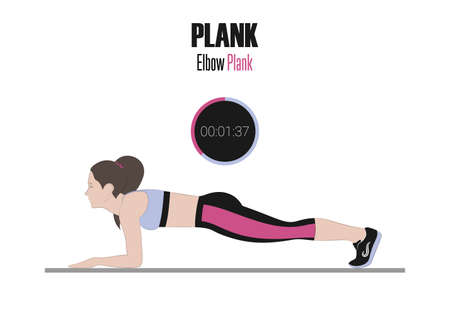 Sport exercises. Exercises with free weight. Dynamic plank. Illustration of an active lifestyle.
