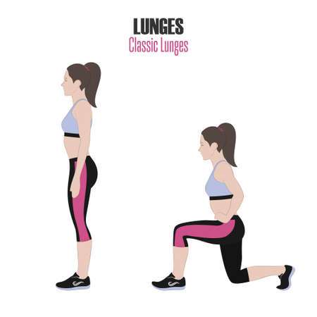 Sport exercises. Exercises with free weight. Classic Lunges. Illustration of an active lifestyle. Exercise for beautiful thighs and buttocks. Illustration