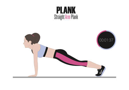 Sport exercises. Exercises with free weight. Straight arm plank. Illustration of an active lifestyle. Electronic Stopwatch.