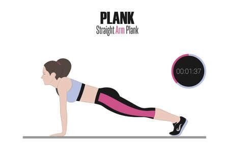 Sportübungen . Übungen mit freiem Gewicht . Gerade Arm . Illustration eines aktiven Lebensstils . Elektronische Stoppuhr Standard-Bild - 98824434