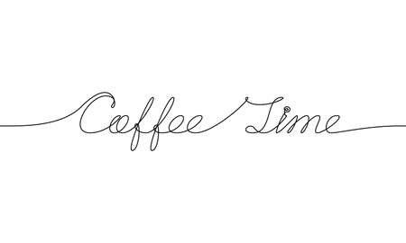COFFEE TIME handwritten inscription. Hand drawn lettering. alligraphy. One line drawing of phrase. Vector illustration