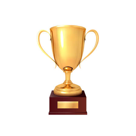 The winner's cup. Realistic gold cup isolated on a white background. Vector illustration