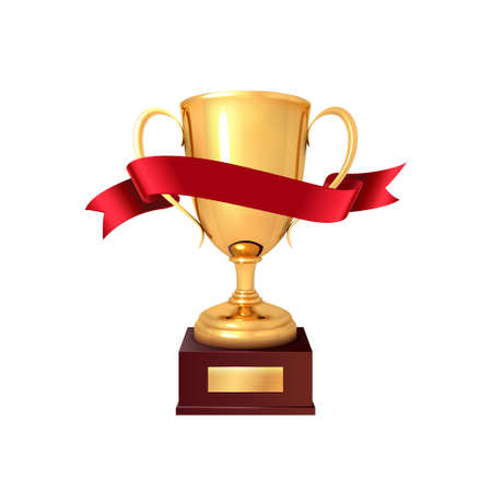 The winners cup with red ribbon.