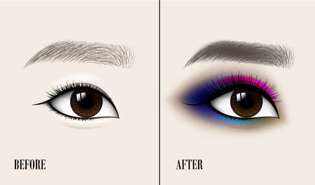 Beautiful Asian Woman Eye and Brow. Before and after make-up. Vector illustration Standard-Bild - 99272373