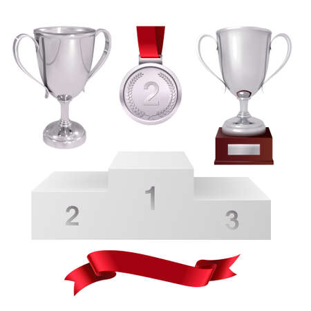 A set of trophies of the winner with silver cups, silver medal, red ribbon and pedestal on white backdrop illustration.