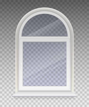 Closed arched window with transparent glass in a white frame. Isolated on a transparent background. Vector.