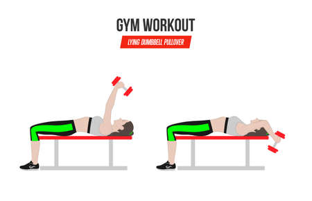 Lying dumbbell pullover. Sport exercises. Exercises in a gym. Illustration of an active lifestyle. Standard-Bild - 100154466