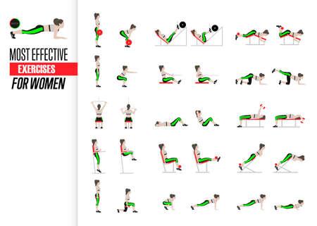 Conjunto de ejercicios deportivos. Ejercicios con peso libre. Ejercicios en un gimnasio. Ilustración de un vector de estilo de vida activo