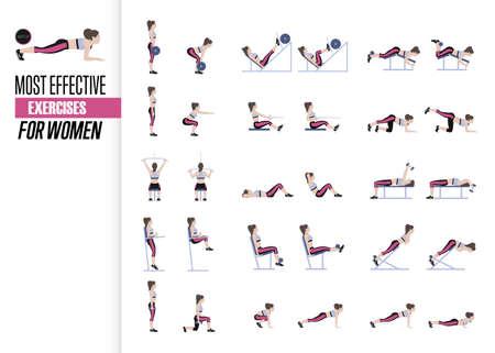 Conjunto de ejercicios deportivos. Ejercicios con peso libre. Ejercicios en un gimnasio. Ilustración de un vector de estilo de vida activo Ilustración de vector