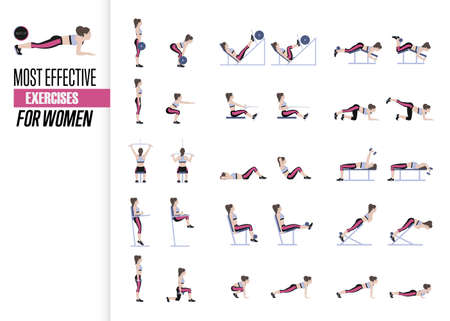 Set of sport exercises. Exercises with free weight. Exercises in a gym. Illustration of an active lifestyle Vector Vettoriali
