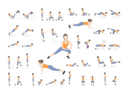 Set of sport exercises. Exercises with free weight. Exercises in a gym. Illustration of an active lifestyle Vector Ilustracja
